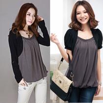 包邮2013春装新品款550大码女装韩版加肥大长袖假两件打底衫T恤女 价格:45.00