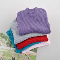 小巷家 全棉抽条打底衫儿童中高领长袖针织衫宝宝纯色毛衣 童装 价格:68.00