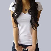 气质女装韩版夏装纯色V领短袖t��女时尚纯棉简约小衫白色修身T恤 价格:19.00