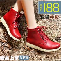 2013秋冬季新款头层牛皮机车靴英伦真皮踝靴子内增高短靴马丁靴女 价格:168.00