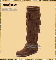 迷你正品唐卡长靴 女式侧拉链高筒女靴 真皮五层流苏长靴子 秋冬 价格:526.00