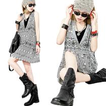 欧洲站2013秋新款潮款品质女装街头范名族风混搭连衣裙C5201 价格:161.10