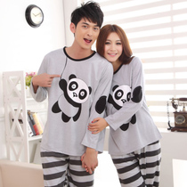 秋季新款熊猫图案情侣家居服 睡衣 男 女 卡通 条纹 时尚家居休闲 价格:60.60