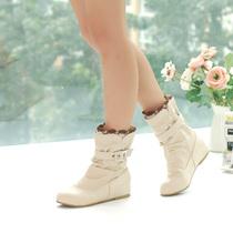 反季特价棉靴休闲鞋内增高蕾丝马丁靴圆头纯色短靴女靴子大码包邮 价格:49.90