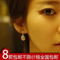 满包邮E2155韩版饰品耳钉三色简单美多钻 淑女水滴 镶钻耳钉耳饰 价格:5.50