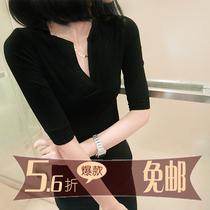 微露 欧洲站大码修身t恤短袖打底衫V领中袖女装夏装2013新款 包邮 价格:55.00