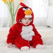 奇乐兔婴儿服装秋冬新款男宝宝连体衣1岁婴儿加厚小鸟爬服YH669 价格:89.00