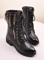 街头潮流  欧美朋克风 个性骷髅头拉链休闲马丁靴 骑士靴 短靴 价格:138.00