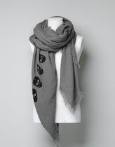 2013年秋冬新款ZARA正品骷髅头图案保暖女士男士围巾4219/201 价格:65.00