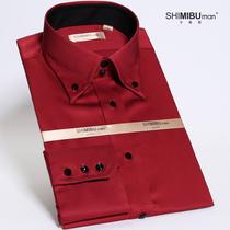 十米布新郎衬衫男士修身潮丝光棉酒红色婚礼长袖结婚衬衣礼服衬衫 价格:178.00