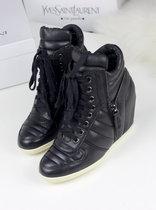 欧洲站 黑色精品女鞋 欧美松糕内增高帆布鞋 韩版厚底高帮鞋 包邮 价格:339.00