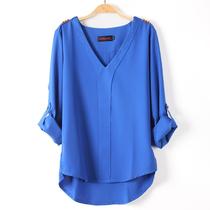 女装2013春装新款韩版休闲V领雪纺衬衫女长袖大码显瘦衬衣 价格:45.00