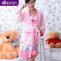 名纷新品珊瑚绒睡袍浴袍 冬季女士可爱吊带睡裙两件套装加厚特价 价格:59.00