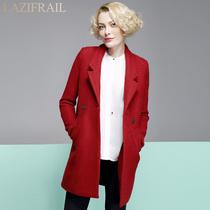 懒小姐 2013秋冬新款红色呢子大衣女 修身西装领毛呢外套 包邮 价格:268.00
