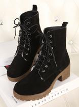 2013新款秋冬季加绒短靴子粗跟高跟鞋真皮鞋子韩版女士马丁靴 价格:108.00