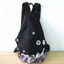 黑眼睛2012水墨荷双肩包女包韩版时尚潮新款正品帆布背包帆布包包 价格:50.00