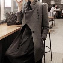 韩国代购2013秋冬新款韩版羊毛毛呢大衣外套女修身款羊毛呢子大衣 价格:248.00