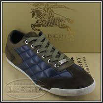 包邮新款爆卖巴宝利时尚休闲男鞋 真皮系带男鞋0218蓝配卡其 价格:430.00