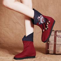 新款老北京布鞋短靴子养脚女靴正品春秋民族风单靴子千层底绣花靴 价格:89.00