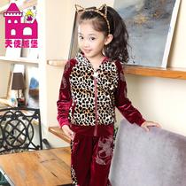 女童秋装2013新款韩版潮天鹅绒运动休闲儿童套装天使城堡 TSC5902 价格:118.00