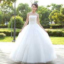 2013最新款韩版甜美婚纱 人气新娘婚纱抹胸高雅车骨蕾丝齐地婚纱 价格:297.50