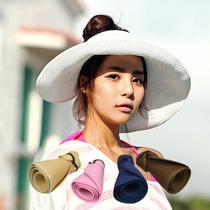 特价空顶帽女士草帽子韩版夏天遮阳帽大沿可折叠太阳帽亲子沙滩帽 价格:9.80