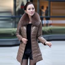 2013新款真皮皮衣 女 海宁皮衣中长款 绵羊皮 真皮羽绒服外套特价 价格:1480.00