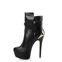 秋冬新款 全真皮 超高跟短靴 超高跟防水台短靴 靴子女短靴高跟 价格:348.00