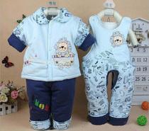 宝宝棉衣套装纯棉加厚婴儿棉袄棉服背带裤三件套新生儿外出服秋冬 价格:58.80