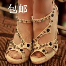 【包邮】金素妍检察官公主水晶钻鱼嘴罗马高跟凉鞋高跟鞋送备用钻 价格:189.00