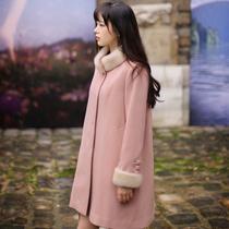 韩菲漫语2013秋冬新潮韩版高档定制粉色甜美羊毛领毛呢外套大衣女 价格:589.00