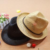Captale棕色皮辫铜环 巴拿马草帽 男士休闲 遮阳帽太阳帽 夏天 价格:59.00