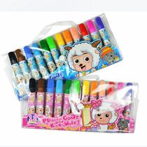 正品喜羊羊水彩笔12色简装 美羊羊涂鸦绘画笔文具 安全无毒可水洗 价格:7.00