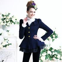 粉红大布娃娃秋冬藏蓝欧根纱裙摆圆领羊毛呢大衣短款外套女 价格:249.50