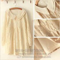 2012 秋冬原单 双层娃娃领高级玫瑰绒蕾丝连衣裙 洋装 价格:59.50