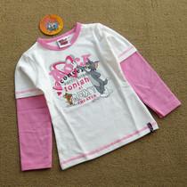 春秋款 猫和老鼠 外贸女童棉质假两件长袖圆领T恤/儿童打底衫 2色 价格:26.00