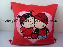 喜庆小破孩沙发靠垫含芯床头靠枕 古典办公室抱枕红色床品 包邮 价格:39.50