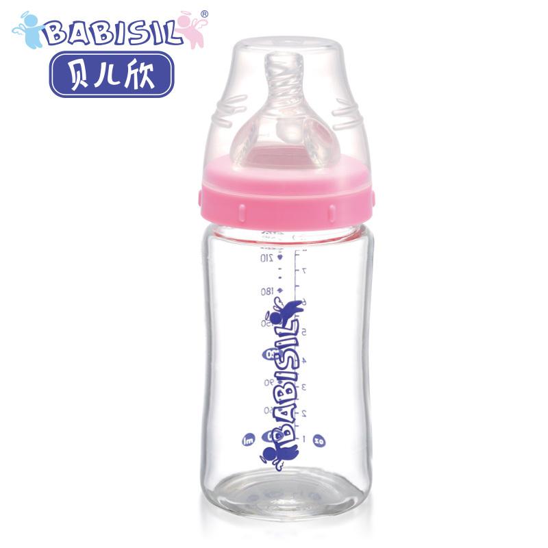 贝儿欣正品 8安士宽口径玻璃奶瓶240m 耐高温 易清洗 安全无毒 价格:76.50