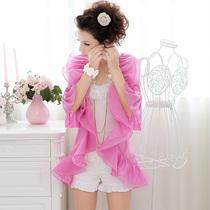秋装 女 外套粉红大布娃娃2013玫瑰粉红大荷叶翻领薄款 披肩外套 价格:238.00