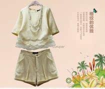 韩国代购2014春装新款女装韩版时尚名媛小香风休闲套装短裤两件套 价格:65.80