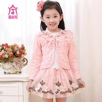 女童春装2014新款 儿童连衣裙套装 春款蕾丝长袖公主春季衣服童装 价格:127.00