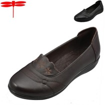 红蜻蜓皮鞋女款平底鞋真皮皮鞋中年老女鞋轻便舒适妈妈鞋子8.118 价格:158.00
