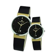 年中特价时光爱客情侣手表一对价经典复古真皮表带精钢腕表日历表 价格:336.00