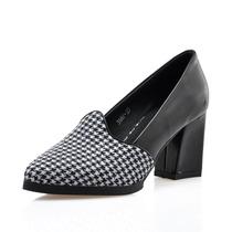 2014春时尚欧美大牌风黑白格子粗跟尖头单鞋千鸟格中高跟低帮女鞋 价格:108.00