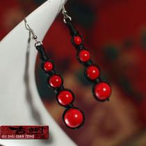 首饰耳饰黑红色民族风饰品时尚个性扁豆型耳环 耳坠女 0203343 价格:8.60