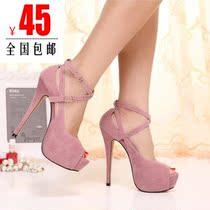 夜店性感超高跟鞋细跟防水台扣带鱼嘴单鞋女凉鞋韩版百搭女士鞋子 价格:45.00