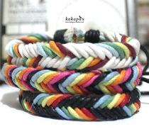 韩国韩版 时尚手绳 手链皮绳编织情侣手链女手镯 男女L2 价格:5.00