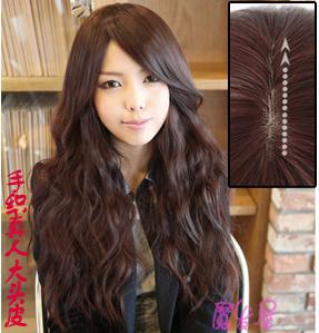 韩国气质OL型女生假发 蓬松斜刘海长卷发 手织宽大仿真发头皮1021 价格:208.00