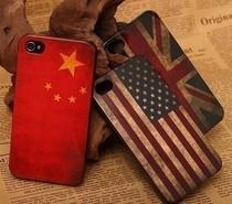 批发复古国旗iPhone 4S手机壳美英国国旗壳苹果5代外壳保护壳厂家 价格:2.00