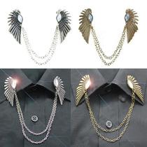 欧美饰品 翅膀闪钻衣领链复古衣领夹胸针链 衬衣领饰L29 价格:3.90